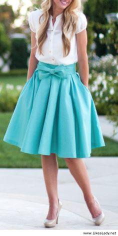 Blue bow skirt