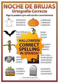 Spelling Activity with Vocabulary associated with Halloween in Spanish. --- Actividad para reconocer la ortografía correcta del vocabulario relacionado con la Noche de Brujas en español.