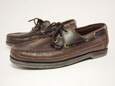 1990s ROCKPORT Vintage Handsewn Leather BOAT SHOES Men's 7.5 #Rockport #BoatShoes