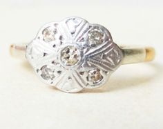 Vintage Sapphire & Diamond Flower Ring Sapphire by luxedeluxe