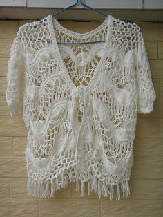 White Crochet Womens Fringe Jacket Boho Bolero Shrugs Hairpin Crochet Pattern