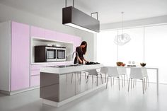 Contemporary Violet And Pink Kitchen by Cucine Lube : Modern Violet And Pink Kitchen By Cucine Lube With White Violet Wall Kitchen Island Sink Cabinet Oven Chandelier Dining Table Bar Stool And Flower Decor And Big Window And Ceramic Floor