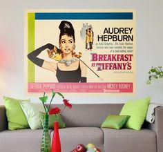 Room Stickers - A vinyl sticker poster of the classic film starring Audrey Hepburn. #BreakfastAtTiffany's #movie #stickers