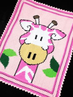 Crochet Patterns - GIRAFFE Zoo/Safari Color Graph BABY GIRL AFGHAN Pattern #KarensCradleCreations