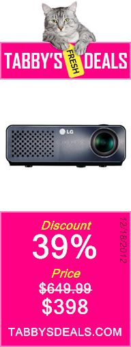 LG HW350T Micro Portable WXGA LED Projector with Digital TV Tuner and Smart TV Projector $398
