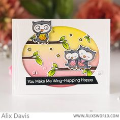 Stamps: Forever and Owlways Die-namics: Forever and Owlways, Wonky Stitched Rectangle STAX, Essential Slanted Sentiment Strips Alix Davis Valentine Love Cards, Diy And Crafts, Paper Crafts, Owl Card, Mft Stamps, Bird Cards, Color Card, Card Tags, Cardmaking