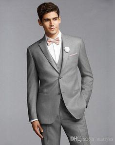 Mens Tuxedo Suits Groom Tuxedos Best Man Suit Wedding Groomsmen Bridegroom Suits Slim Fit Light Grey Side Vent Jacket+Pants+Tie+Vest Formal For Men Formal Suit For Men From Marrysa, $92.93| Dhgate.Com