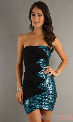 Short Strapless Dress with Sequins at PromGirl.com  CT-9537-Z419