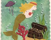 "PATTERN - ""Mermaid's Treasure"" Block of the Month wool applique' quilt block or table mat."