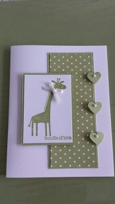 handmade baby card ... kraft and white ... giraffe ...polka dot panel with column of hearts on the border ... sweet! ... Stampin' Up!