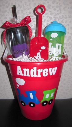 Personalized Train Bucket $9