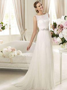 Tulle Jewel Neckline A-line Beaded Waistline Wedding Dress at Millybridal.com