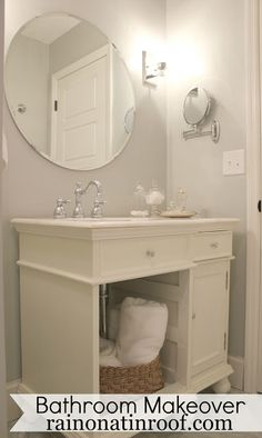 Stonington Gray by Benjamin Moore color-matched in Behr paint. Bathroom Renovation (on a budget)