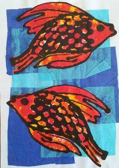 warm & cool colors: Koi Fish Mono-print.