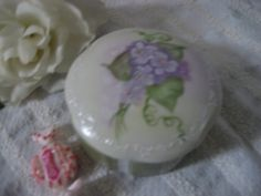 Violet Round Trinket PILL Box Jewelry holder by PorcelainChinaArt, $19.00