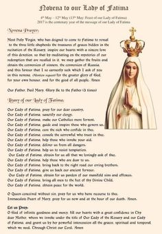 Novena to Our Lady of Fatima starts May 5th