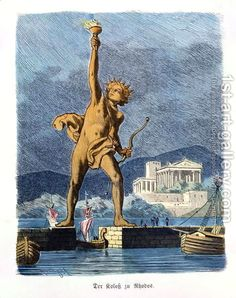 Wonders of the Ancient World - Colossus of Rhodes.The Colossus of Rhodes was a statue of the the Sun Greek god Helios, on the Greek island. Greek Sun God, Greek Gods, World Seven Wonders, Great Pyramid Of Giza, Greek Culture, Pyramids Of Giza, Greek Art, World Pictures, Ancient Greece