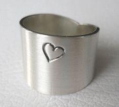 Sterling Silver Love Ring Heart Sterling Wide Band by JenniferWood, $44.00