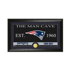 The Highland Mint NFL Man Cave Framed Wall Poster Print New England... ($54) ❤ liked on Polyvore featuring home, home decor, wall art, new england patriots, framed wall art, the highland mint, mounted wall art and home wall decor
