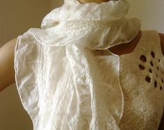 Nuno felted scarf white silk and wool