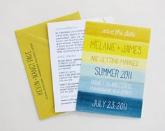 Yellow & Blue Striped Watercolor Invitations @Camille Blais Styles  Don't know if I love the yellow but I like this style over a super formal style...