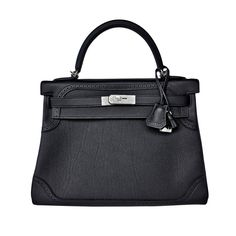 5b46836afc41 Hermes Black Ghillies Limited Edition 32cm Kelly Togo Swift Shoulder Bag  Rare