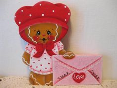 HP Gingerbread Love Letter Valentine's Day Shelf Sitter hand painted USA