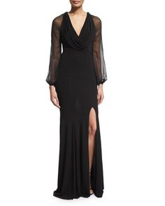 Cap-Sleeve+Beaded-Front+Godet+Gown++by+NM+EXCLUSIVE+at+Neiman+Marcus.