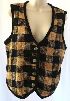 Christopher & Banks S Gold Black Cotton Sweater Vest Women V Neck Plaid Jumper #ChristopherBanks