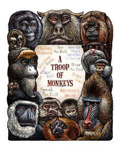 A Troop of Monkeys 11 x 14 monkey art print by ChetArt on Etsy, $20.00