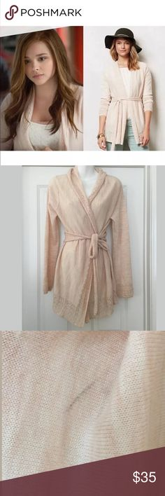 """Anthropologie knitted & knotted cardigan cossette This light weight cardigan is super soft and cozy. It features beautiful details along the sleeves and hemline. It has an open front and attached tie front belt. It is easy to slip on and goes with a great range of outfits. Wool,polyester  Bust 20.5"""" Length 31""""  Only worn once, only flaws I noticed was two snags on the underneath of the back collar not noticeable when wearing since called folds over  & a dust mark on the front that should…"""