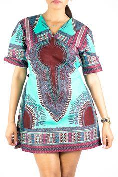 Tunique chic décontractée en pagne wax. Mode ACP African Dresses For Women, African Wear, African Fashion Dresses, African Women, African Print Fashion, African Prints, Kente Styles, Ankara Dress, African Design