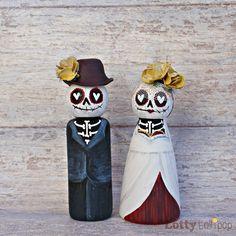 Skull Wedding Cakes, Sugar Skull Wedding, Wedding Cake Toppers, Wood Peg Dolls, Clothespin Dolls, Paper Dolls, Art Dolls, Diy Day Of The Dead, Sugar Skull Art