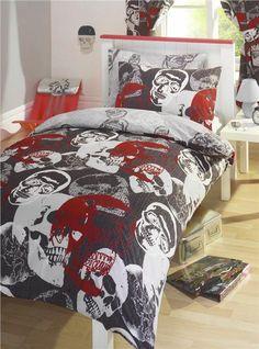 DUVET QUILT COVER BED SET / CURTAINS - RED & GREY SKULLS DESIGN