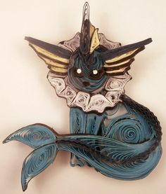 Paper Quilling Vaporeon - 134 by wholedwarf.deviantart.com on @deviantART Quilling Patterns, Quilling Designs, Quilling Ideas, Pokemon For Sale, Quilling Cake, Quilling Necklace, Quilling Animals, Pokemon Craft, Quilled Paper Art