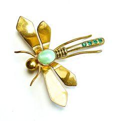 Art Deco Dragonfly Brooch Jewelry Rhinestone by silvermoonstars