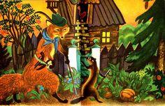 "1944 Feodor Rojankovsky illustration, from ""Animal Tales"" Golden Pleasure Books 1966"