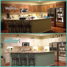 Mint kitchen!  Mint island, white cabinets!