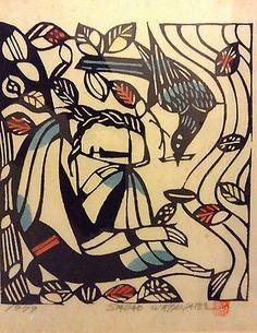 Listed Artist Sadao Watanabe Original Color Stencil,