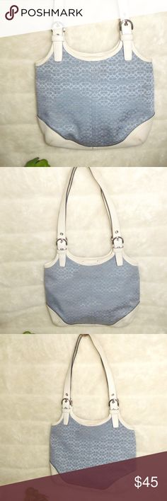 """COACH 7026 Blue White Signature Purse Shoulder Bag - Authentic Coach Signature Blue White Shoulder Bag Purse . Comes with 3-inside pockets & leather tag - Item #B04K-7026 . Measures 12""""W x 19""""L (straps to bottom). Gently-owned ,showing some usual cosmetic wear as shown. Send us a message for any questions you might have. Thanks for shopping with us. *No Trade Please . Coach Bags Shoulder Bags"""
