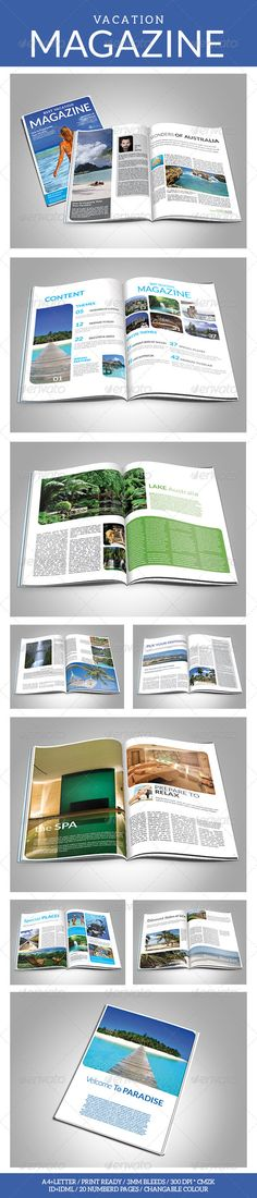 Vacation Magazine Template — InDesign INDD #stylish #template • Available here → https://graphicriver.net/item/vacation-magazine-template/7123402?ref=pxcr