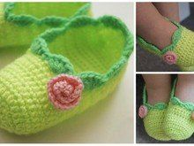 """Free crochet pattern """" Baby ballet slippers"""" Size 6, 15-18 month"""