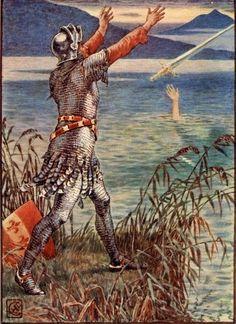 Bedivère, Chevalier de la Table Ronde qui restitue Excalibur, à la Dame du Lac