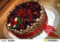 Velký ovocný dort recept - TopRecepty.cz Cake Designs, Cake Recipes, Waffles, Food And Drink, Birthday Cake, Fruit, Cooking, Breakfast, Desserts