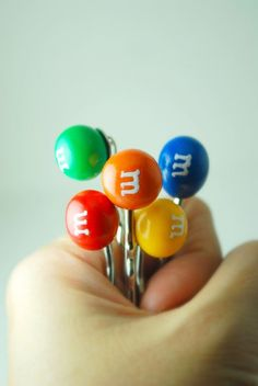 Candy Bobby Pins in Polymer Clay. Handmade Miniature Polymer Clay Food Hair Bobby Pin. Back to School