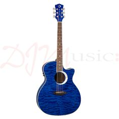 Luna Trans Blue Eclipse Electro Acoustic - This Grand Concert style body is larger than the folk and offers a rich, full-bodied sound.