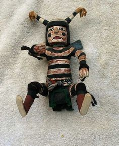 Antique SW Indian Clown Kachina Top Quality Well Painted   eBay