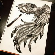 60 Best Phoenix Tattoo Designs – The Coolest Symbol for Tattoo - i like tattoos - Tatoo Ideen Tattoo Drawings, Body Art Tattoos, New Tattoos, I Tattoo, Sleeve Tattoos, Tattoos For Guys, Cool Tattoos, Tatoos, Bird Of Prey Tattoo
