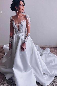 Elegant Satin Sheer Neckline A-line White Wedding Dresses With Lace  Appliques N1383 2a22cb6ba
