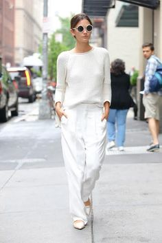 Who: Lily Aldridge What: Round Sunnies Why: The model keeps her cool in all white, but the star of her sartorial show is round sunnies that make a statement without being over the top. Get the look now: The Row sunglasses, $430, ssense.com.   - HarpersBAZAAR.com